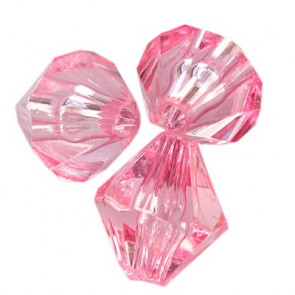 plastične perle, bikoni 10 mm, roza, 50 gr