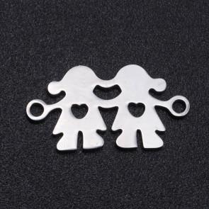 obesek/vmesnik za nakit,oblika deklica in deklica, 19x10x1 mm, luknja: 1.5 mm, nerjaveče jeklo, 1 kos