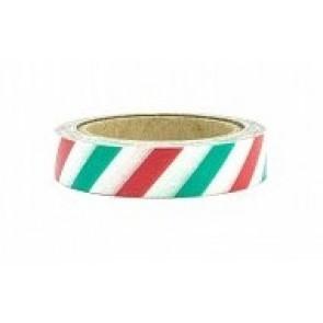 Washi tape - dekorativni lepilni trak - rdečo-belo-zeleni s črtami, širina: 1 cm, dolžina: 10 m, 1 kos