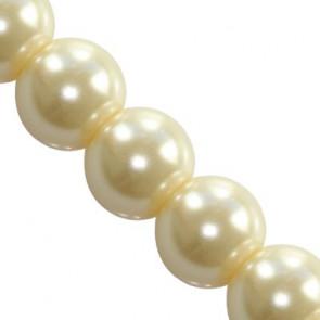 steklene perle, okrogle 10 mm, ecru, 1 niz - 80 cm