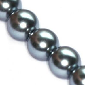 steklene perle, okrogle 6 mm, grafitne, 1 niz - cca. 80 cm