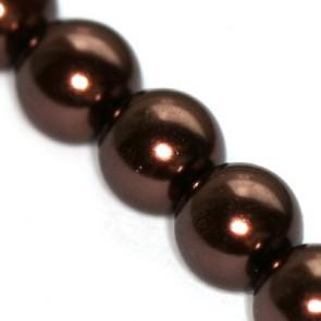 steklene perle, okrogle 6 mm, rjave, 1 niz - 80 cm