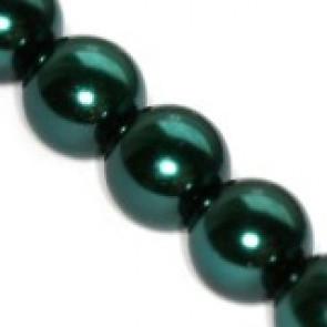 steklene perle, okrogle 8 mm, t. zelene, 1 niz - 80 cm