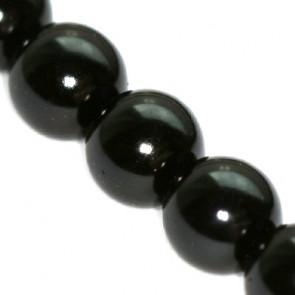 steklene perle, okrogle 12 mm, črne, 1 niz - 80 cm