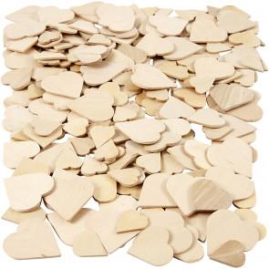 leseni srčki 18-30 mm, naravni, mix,  1 kos