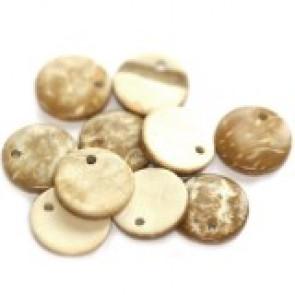 kokos perle 10 mm, naravne - svetlo rjave, 10 kos