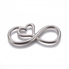 obesek/vmesnik za nakit, neskončno s srcem, 40x19x2.5 mm,  nerjaveče jeklo, 1 kos