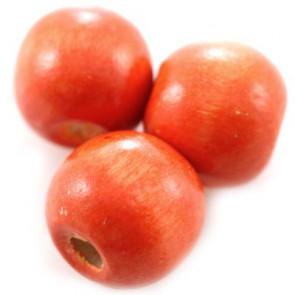 lesene perle, okrogle 11x12 mm, opečnato rdeče, 50 gr