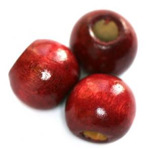 lesene perle, okrogle 11x12 mm, rdeče, 50 gr