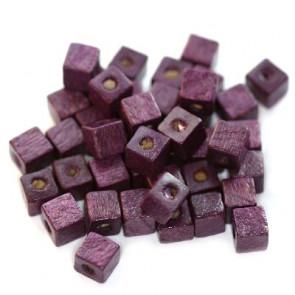 lesene perle, kocke 6 mm, vijola, 50 gr