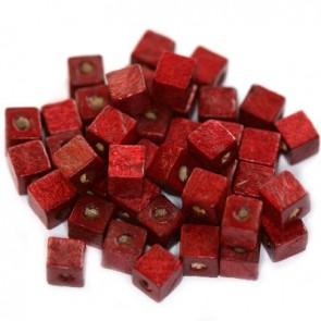lesene perle, kocke 6 mm, t. rdeče, 50 gr