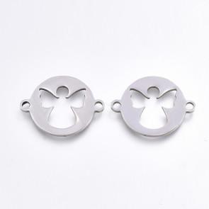 obesek/vmesnik za nakit, ploščat krog z angelčkom, 15.5x20x1 mm, nerjaveče jeklo, 1 kos