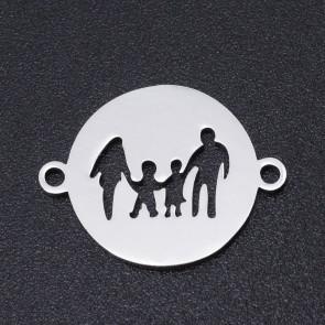 obesek/vmesnik za nakit, ploščat krog z družino, 14.5x19x1 mm, nerjaveče jeklo, 1 kos