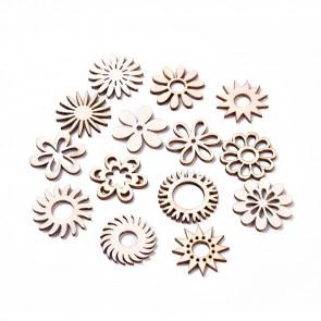 leseni ornament, rože, naravna b., 26.5~29.5-2.5 mm, mix, 10 kos