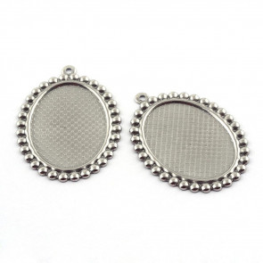 osnova za obesek - medaljon iz nerjavečega jekla, ovalne oblike, 35x25.5x1.5 mm, luknja: 1.5 mm, velikost kapljice 25x18 mm, 1 kos