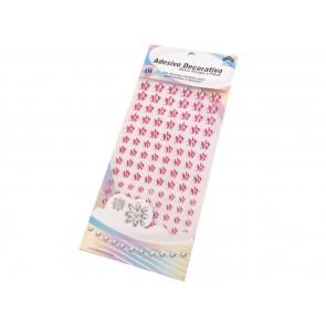 samolepilne perle rožice - polovične, 6 - 12 mm mix, sv. pink, 16 kos