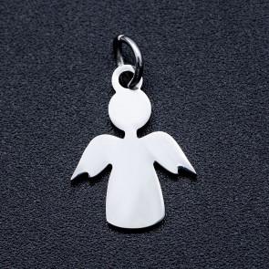 kovinski obesek 15x11.5x0.5 mm, oblika angel, nerjaveče jeklo, 1 kos