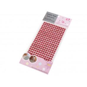 samolepilne perle - polovične, 6 mm, rdeče, 13 kos