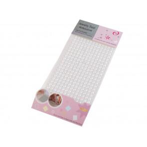 samolepilne perle - polovične, 6 mm, white AB (bele AB), 13 kos