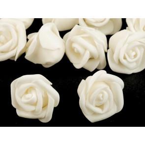 dekorativna roža, penasta, 2,8x4 cm, krem b., 1 kos