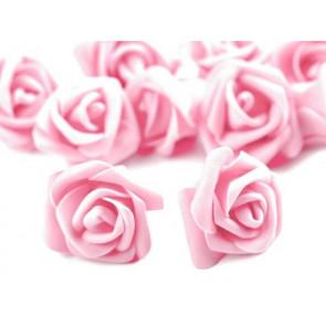 dekorativna roža, penasta, 2,8x4 cm, sv. roza b., 1 kos