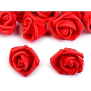 dekorativna roža, penasta, 2,8x4 cm, rdeča b., 1 kos
