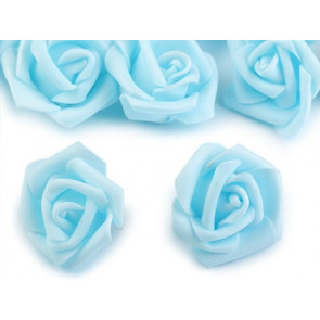dekorativna roža, penasta, 2,8x4 cm, modra b., 1 kos