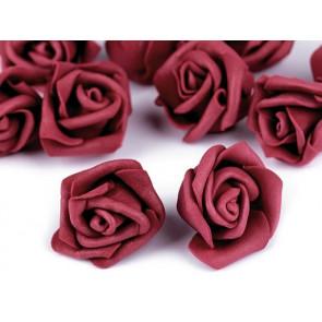 dekorativna roža, penasta, 2,8x4 cm, vinsko-rdeča b., 1 kos