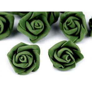 dekorativna roža, penasta, 2,8x4 cm, zelena b., 1 kos