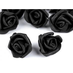 dekorativna roža, penasta, 2,8x4 cm, črna b., 1 kos