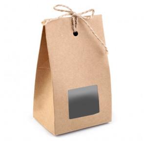 darilna embalaža 7,5x12,2x5,5 cm, rjave b., 1 kos