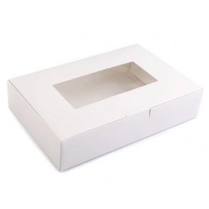 zložljiva škatla iz kartona, z okencem, 16x24x5 cm, bela (zunaj in znotraj), 1 kos