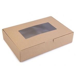 zložljiva škatla iz kartona, z okencem, 16x24x5 cm, naravna b. (zunaj in znotraj), 1 kos