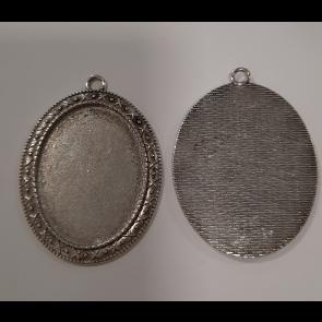 osnova za obesek - medaljon 54.5x40x2mm, barva starega srebra, velikost kapljice: 30x40 mm, 1 kos