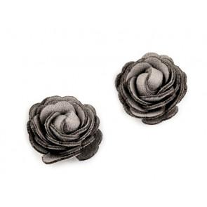 dekorativna roža, umetno usnje, 20 mm, sv. siva b., 1 kos