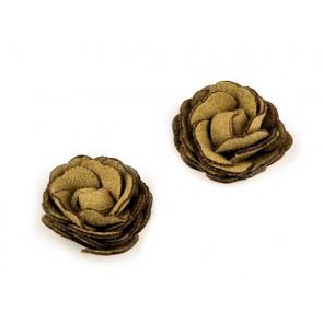 dekorativna roža, umetno usnje, 20 mm, t. rumena b., 1 kos