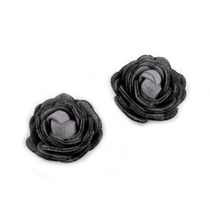 dekorativna roža, umetno usnje, 20 mm, siva b., 1 kos