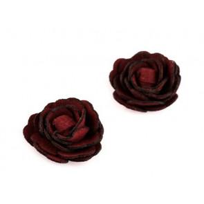 dekorativna roža, umetno usnje, 20 mm, bordo rdeča b., 1 kos