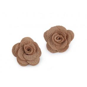dekorativna roža iz blaga, 30 mm, rjava b., 1 kos