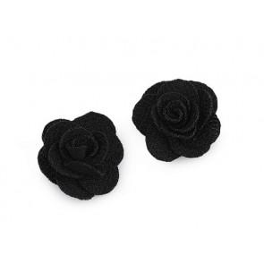 dekorativna roža, iz blaga, 30 mm,  črna b., 1 kos