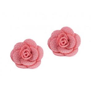 """dekorativna roža iz blaga, 30 mm, """"coral light"""" b., 1 kos"""