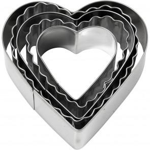kovinski izrezovalnik, srce, cca. 8 cm, 1 komplet (5 kosov)