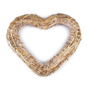 srce iz slame - osnova za venček, naraven material, zunanji premer: Ø37 cm, debelina: Ø4.5 cm, 1 kos