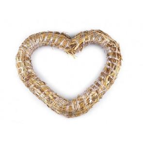 srce iz slame - osnova za venček, naraven material, zunanji premer: Ø30 cm, debelina: Ø3.5 cm, 1 kos