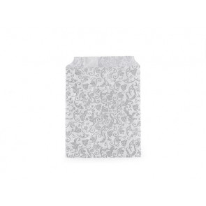 papirnata vrečka z ornamenti, 9.5x14 cm , siva b., 1 kos