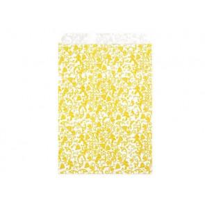 papirnata vrečka z ornamenti, 15x23 cm , rumena b., 1 kos