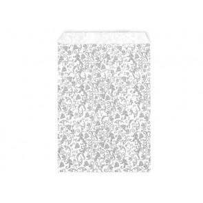 papirnata vrečka z ornamenti, 15x23 cm , siva b., 1 kos