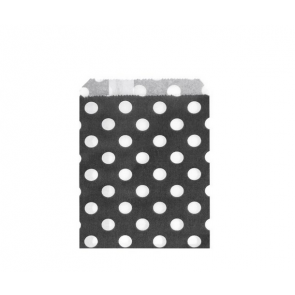 papirnata vrečka, 10x14 cm, črna s pikami, 1 kos