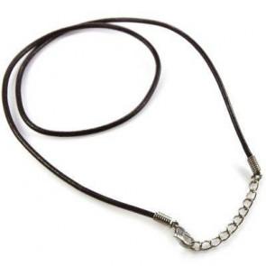 osnova za ogrlico - usnjena, rjava, 48 cm, 1 kos