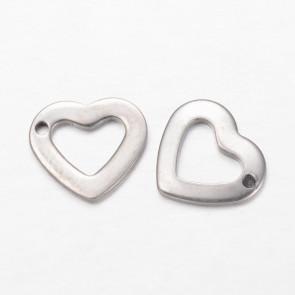 kovinski obesek 10x11x1 mm, odprto srce, nerjaveče jeklo, 1 kos